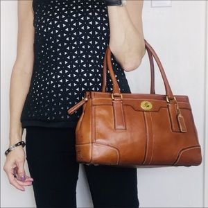 Coach Hamptons Whiskey Leather Turnlock Satchel